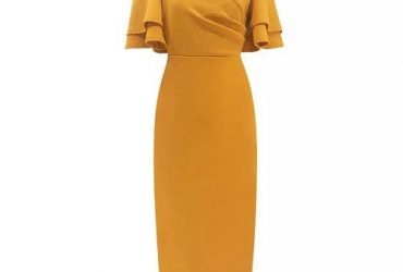 Shoppaholic Fitted Dress With Cold Shoulder Ruffle Sleeves –