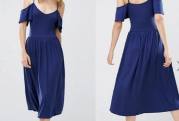 Fashion By LV Cold Shoulder Midi Blue Dress