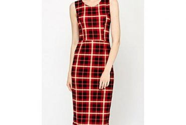 Qed London Red Checked Midi Dress