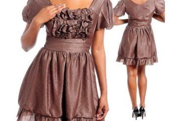 Ruffle Dress – Brown