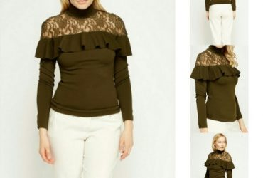 Fashion By LV Ruffle Lace Insert Olive Top