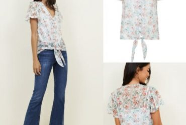 New Look Floral Print Tie Front Top