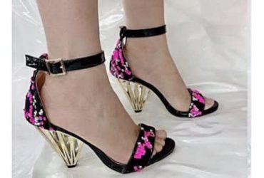 Cone Heel Sequins Women Sandal