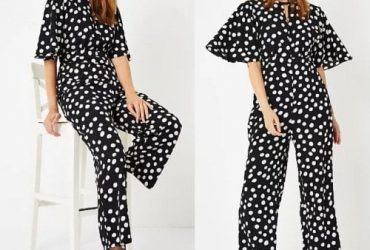 George Spot Print Black Jumpsuit