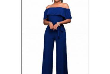 Blue Off Should Belted Wide Leg Jumpsuit