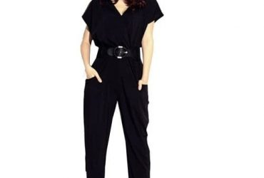 Women's Short Sleeve V-neck Jumpsuit With Free Belt