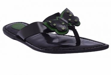 Butterfly Thong Style Leather Flat Slippers – Green