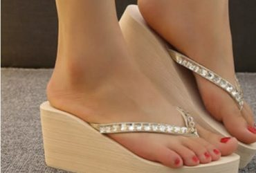 Rhinestone Wedge Slippers