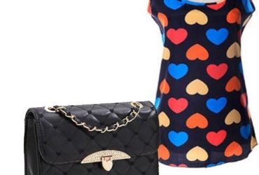 Sleeveless Love Print Chiffon Camisole Top + Quilted Handbag – Black