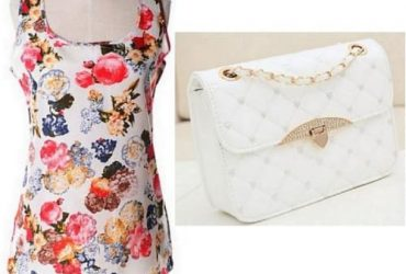 Ladies Sleeveless Chiffon Floral Top + Quilted Clutch Handbag