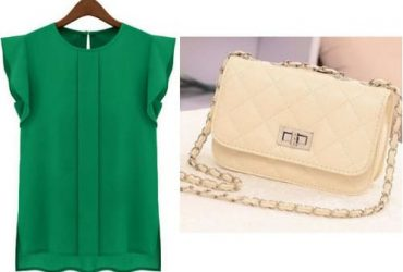 Women's Chiffon Short Sleeve Blouse – Green + Mini Clutch Purse