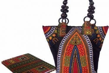 Embellished Studded Dansiki Print Ankara Bag