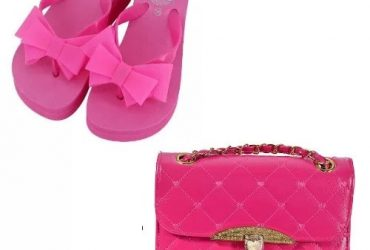Bow Knot Platform Heel Slippers + Quilted Bag – Rose Red