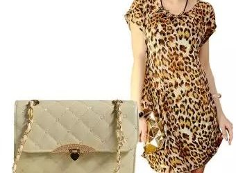 Ladies Leopard Print Ice Silk Midi Dress + Quilted Bag