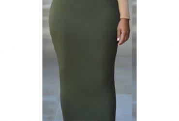 Long High-waist Green Pencil Slim Skirt