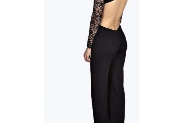 Boohoo Lace High Neck Opened Back Jumpsuit