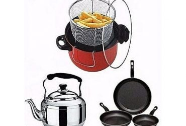 Economy Kitchen Bundle – Deep Fryer + Whistle Kettle+3 Non-stick Fry Pan