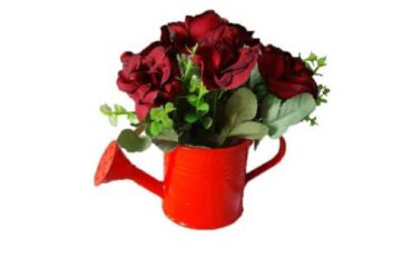 Artificial Rose's In Watering Can