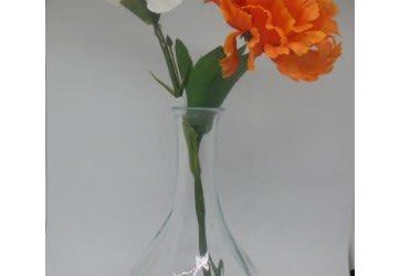 White And Orange Flower In Glass Vase…