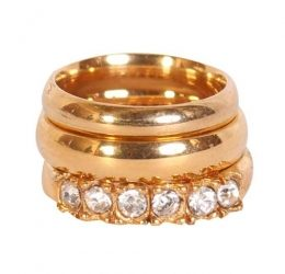 Gold Plated Truded Wedding Ring Set (ZP)