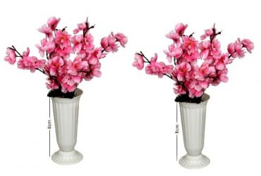 2 Set Plastic Cup Vase With Pink Blos…