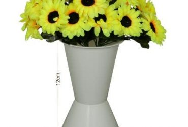 White Standing Plastic Vase With Yell…