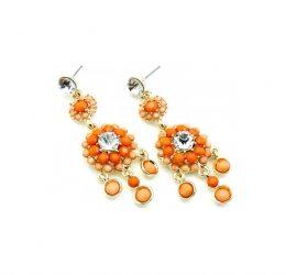 Orange Bead And Crystal Earrings