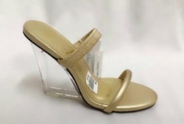 Glass Wedge Slippers – Gold