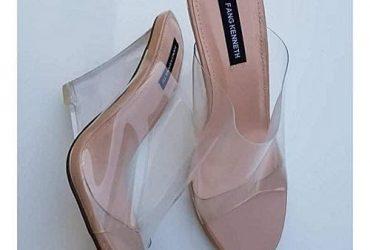 Ladies' Transparent Mule Heel Slippers