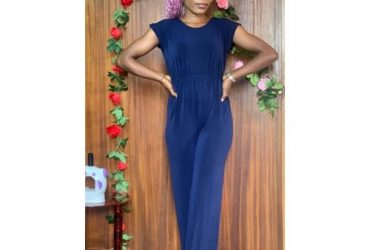Casual Elastic Band Jumpsuit – Navy Blue