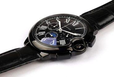 Cartier Black Dial Croc Leather Watch | Black