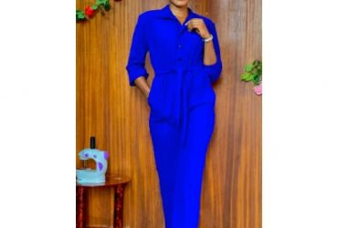 Formal Button Down Jumpsuit With Belt – Blue