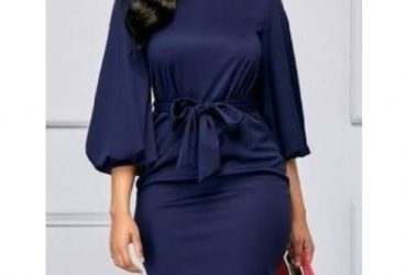Fashion Woman Elegant O-neck Puffy Hand Dress