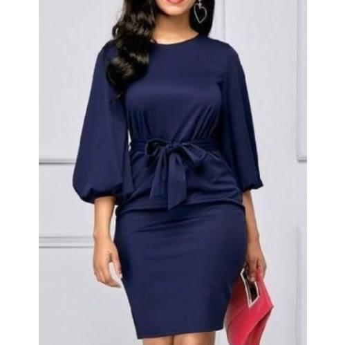 Fashion Woman Elegant O-neck Puffy Hand Dress