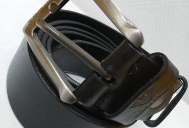 Giorgio Armani Leather Belt   Black