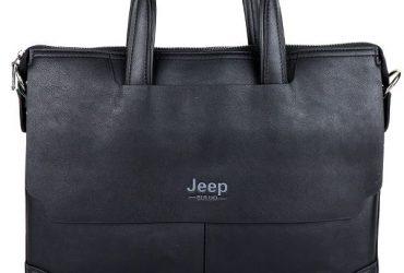 Jeep Buluo Logo Leather Bag | Black
