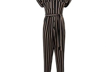 Fashion By LV Stripe Twill Button Jumpsuit – Black