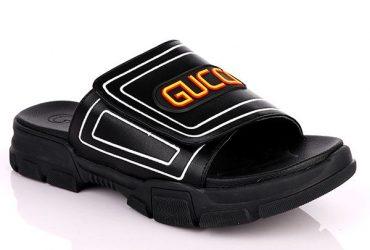 GG Logo Men's Leather Slide | Black