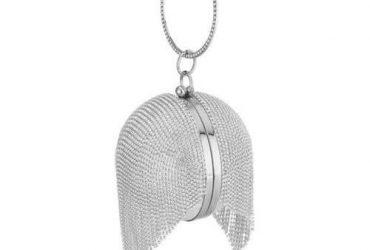 Rhinestone Tassel Sparkly Round Clutch – Silver