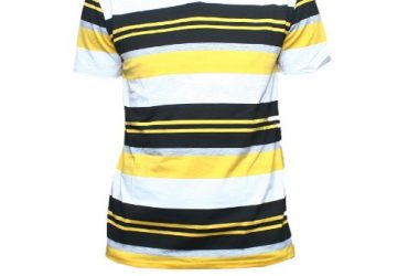 V-Neck Polo Shirt -Yellow,Black & Whi…