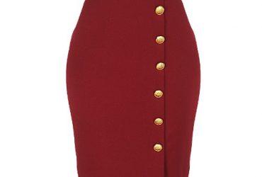 Gold Buttoned Skirt – Burgundy