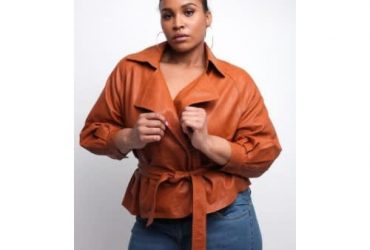 Queen Of Sheba New York Brown Faux Leather Blazer