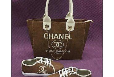 Women Sneakers And 31 Rue Cambon Paris Handbag Set – Brown