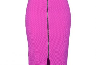 Zip-through Slit Pencil Midi Skirt – Pink