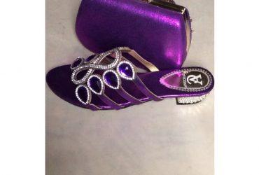 Women's Slippers & Clutch – Purple