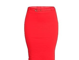 Bodycon Midi Skirt With Belt – Red