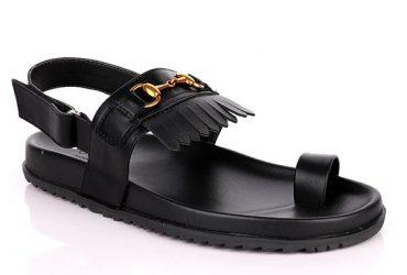 GG Fringe Toe Sandal | Black