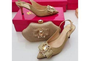 Matching Shoes & Bag – Gold