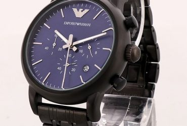 Emporio Armani Blue Dial Bracelet Watch | All Black