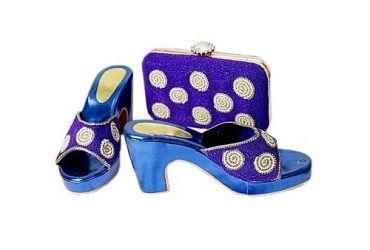 Women's Purple And White Shoe And Purse Set